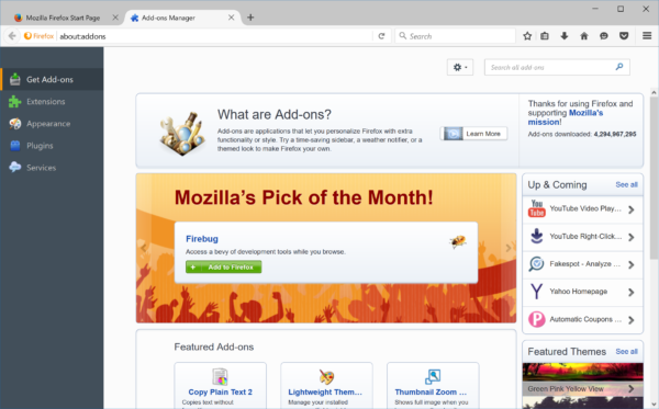 Add-on Discovery Pane before Firefox 48