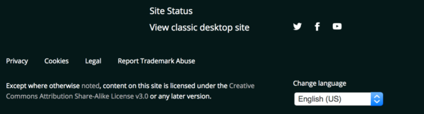 View classic site link in footer