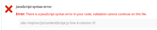 Example of JavaScript syntax error