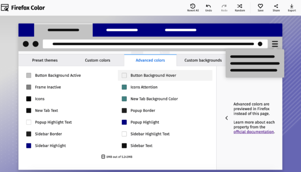 A screenshot of the Advanced colors tab on color.firefox.com. You can toggle colors for various backgrounds, frames, sidebars, and fields.