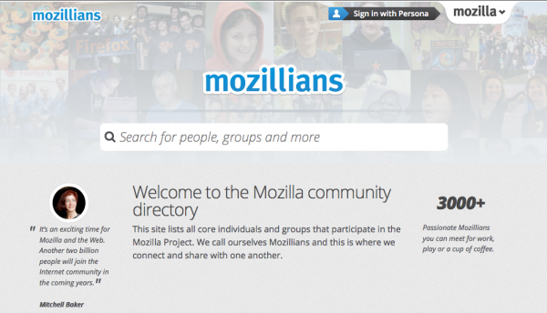 The new Mozillians homepage allows you to search for Mozillians with public profiles.