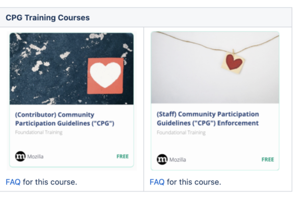 two course tiles are shown. One titled (contributor) community participation guidelines, the other (staff) participation guidelines. Each show link to FAQ