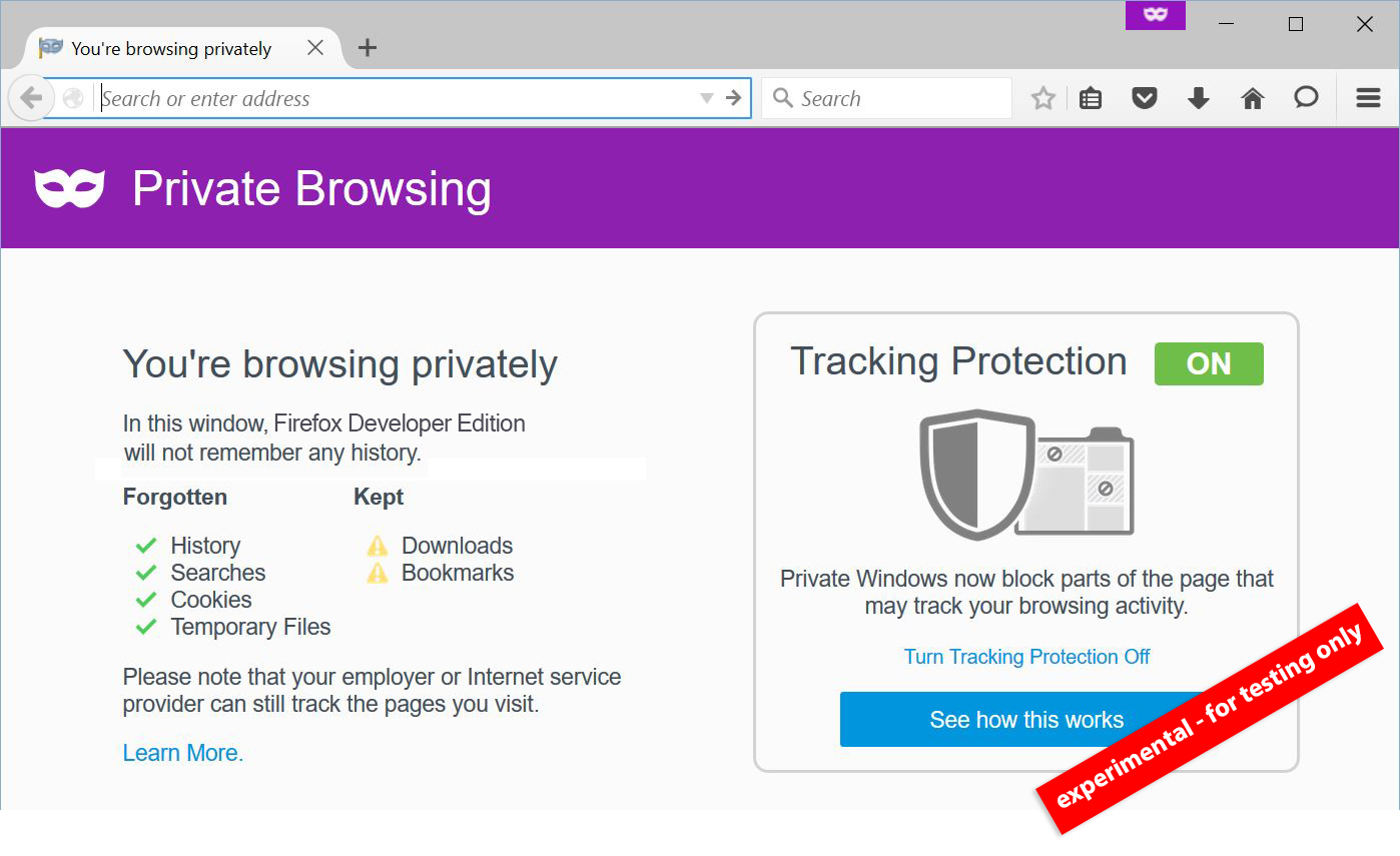 New Experimental Private Browsing and Add-ons Features Ready