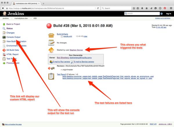 Web QA Jenkins build page