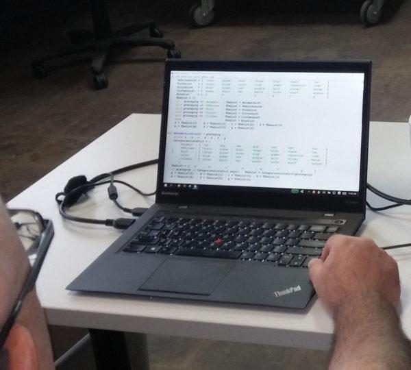 Dan leading a Python class