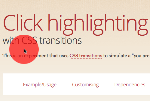 Click highlights with CSS transitions - Mozilla Hacks - the