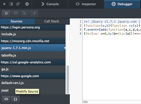 Split console, pretty-print minified JS and more - Firefox Developer