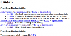 (mxr.mozilla.org search results for 'Cmd+K')