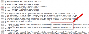 (some source code from browser-sets.inc where the Cmd+K keyboard shortcut is defined)