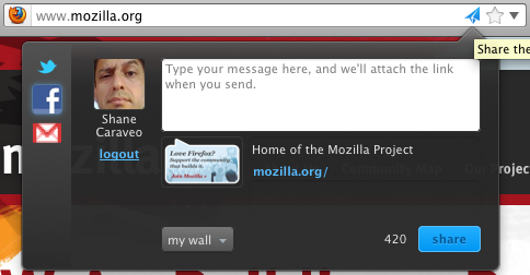 Firefox Share alpha screenshot