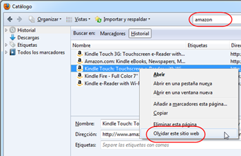 elimina un solo sitio del historial de Firefox