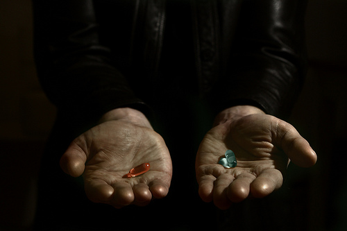 A choice between a red pill and a blue pill.
