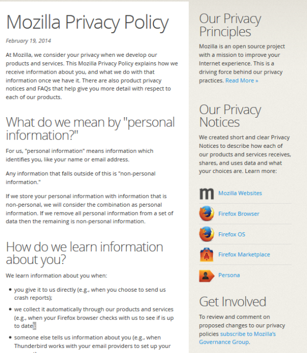 Our new privacy hub layout features our Privacy Policy on the center of the page and lists our Product Privacy Notices along the right.