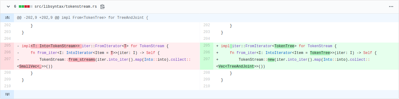 Screenshot of the satisfying commit, as viewed on GitHub