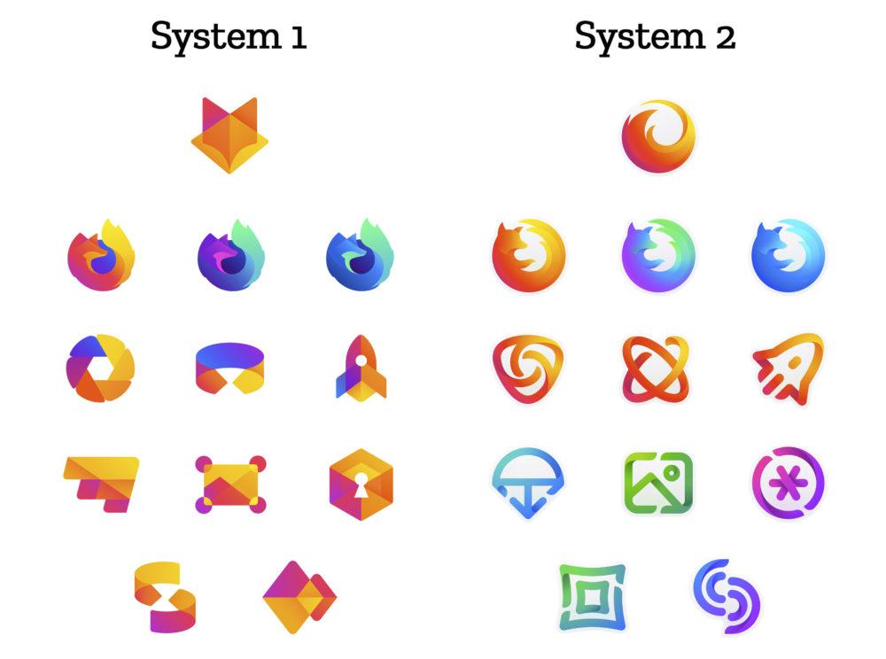 Firefox logo design system 1 e 2