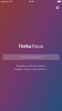 Page d'accueil de Firefox Focus
