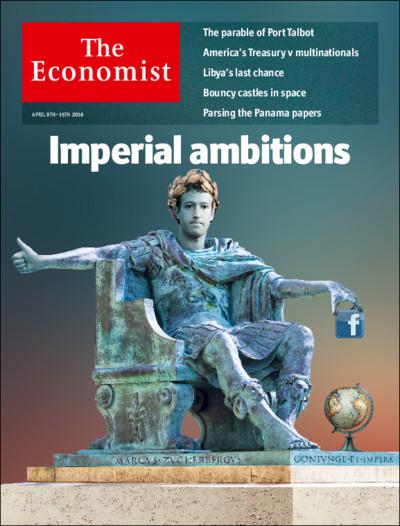 Mark Zuckerberg, założyciel Facebooka, jako rzymski przywódca na okładce The Economist (9 – 15 kwietnia 2016)