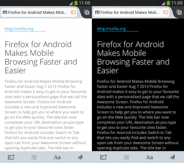 Firefox for Android Reader in dark and light mode