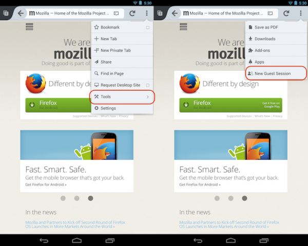 Firefox for Android Guest Browsing