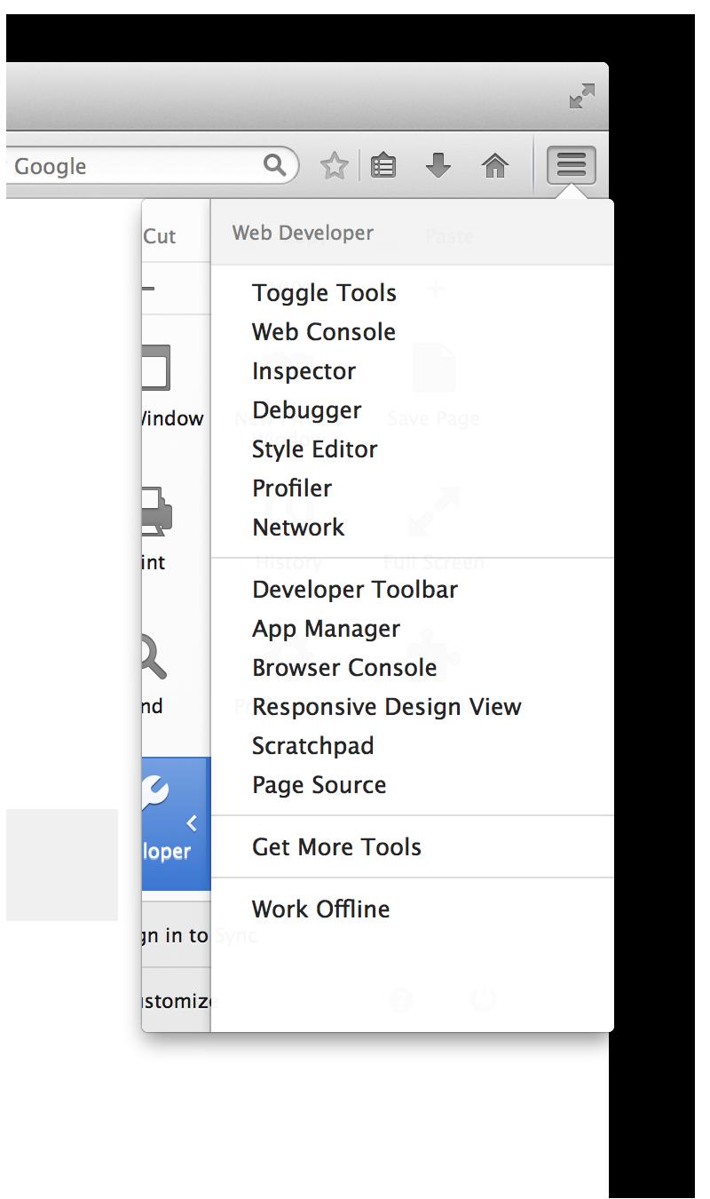 Firefox 29 menu