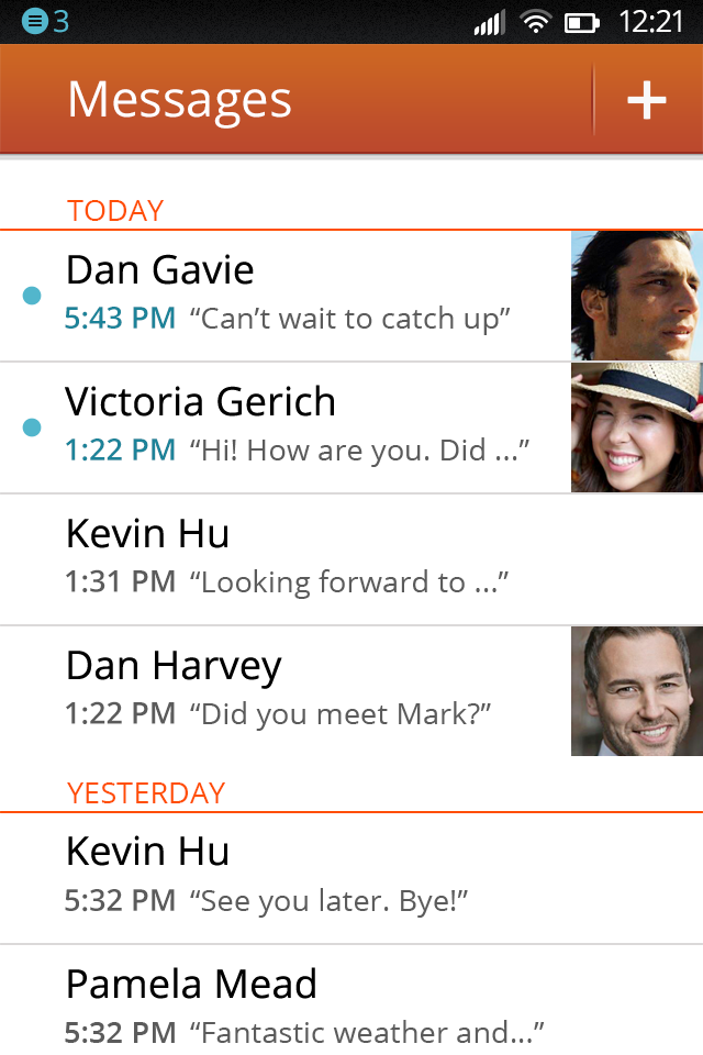 Firefox OS Messages Screen