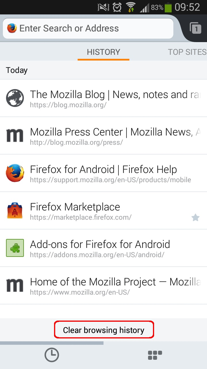 Firefox for Android - Clear History