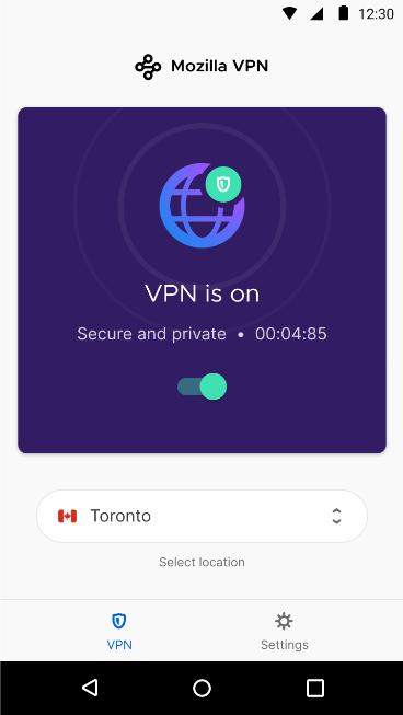 Простой и удобный в использовании переключатель Mozilla VPN