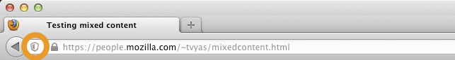Image: A small shield icon is shown before the web page address in the location bar when Firefox has blocked Mixed Active Content.