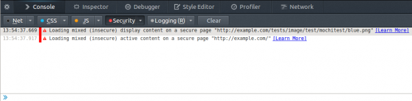 Errors for blocked mixed content in the Web Console.