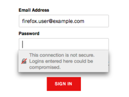 Login form with Username and Password field; Password field shows warning