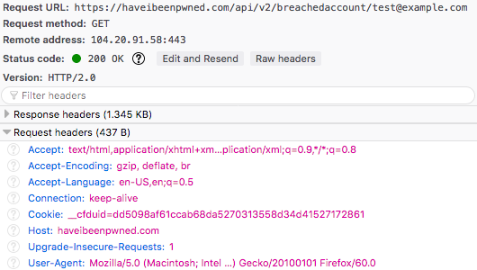 An API request reveals sensitive data about the requesting party.