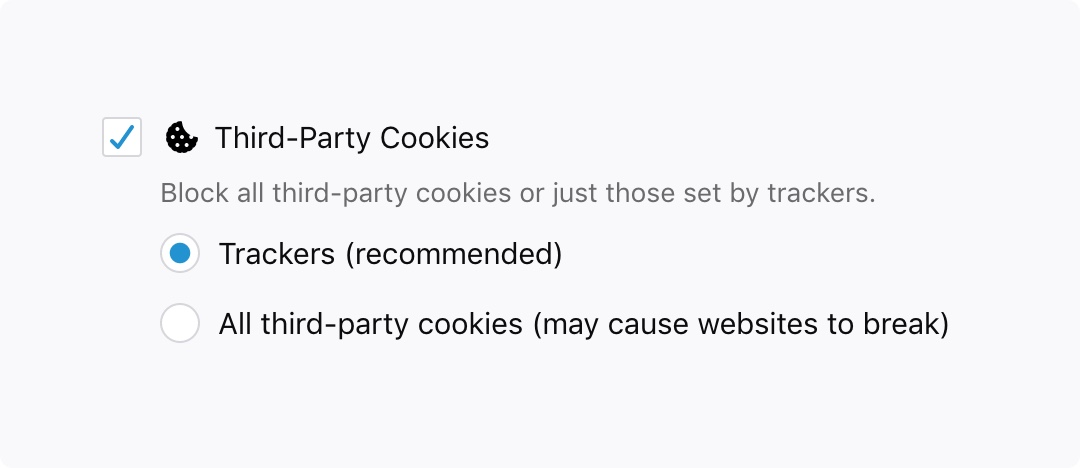 Preference panel screenshot showing how to enable third-party cookies.