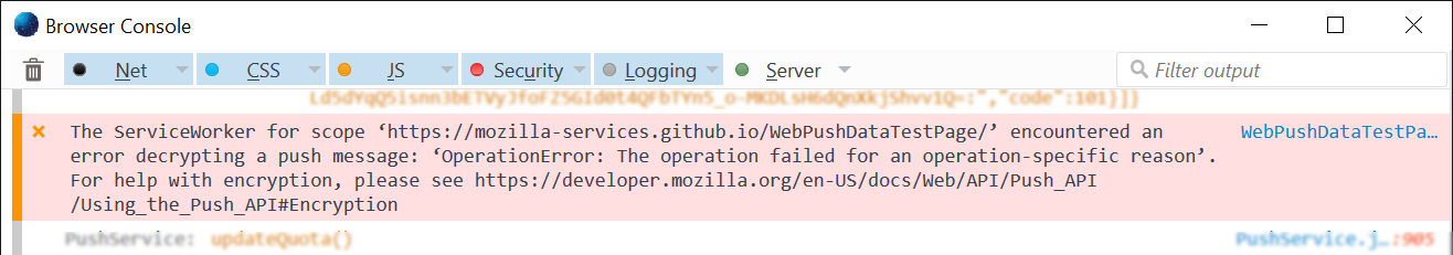 "The debugging console displaying ""The service worker for scope 'https://mozilla-services.github.io/WebPushDataTestPage/' encountered an error decryption the a push message:, with a message and where to look for more info"