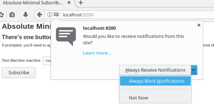 An example of a user blocking WebPush message subscription