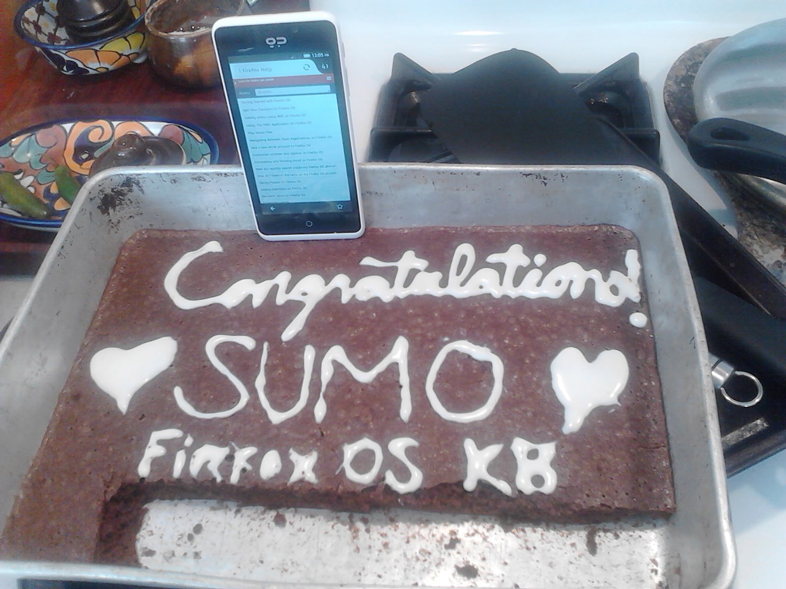 brownies that say Congratulations! SUMO Firfox OS KB