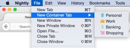 Use the File Menu to access New Container Tab, then choose between Personal, Work, Banking, and Shopping.