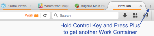 Plus button plus control key inherits the Container type from the existing tab