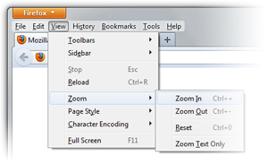 Text too small? Use Firefox Zoom Controls    The Den