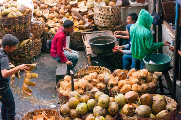 Coconut processing in Bandung