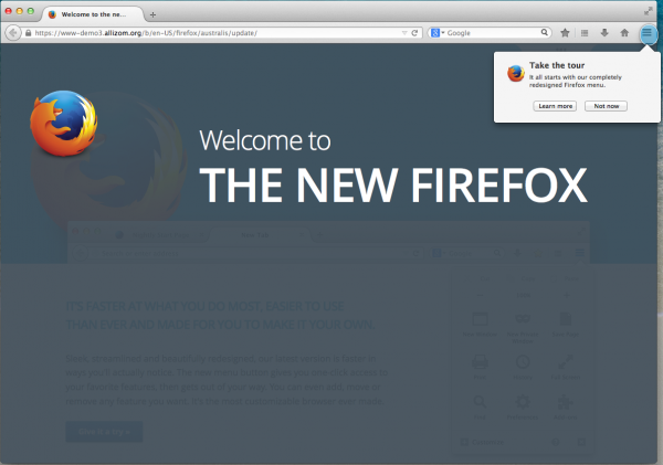 The web page users see when they update Firefox