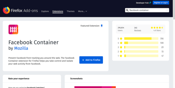 Screenshot of the Facebook Container product page on addons.mozilla.org. Source of image: https://addons.mozilla.org/en-US/firefox/addon/facebook-container/?src=search.