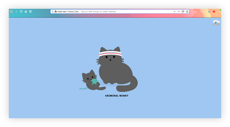 "Screenshot of the Tabby Cat extension new tab. The background is blue, and in the center is a large cat with a sweat headband, sitting next to a kitten playing with a ball of yarn. A caption beneath the cats reads, ""Criminal Winky."""