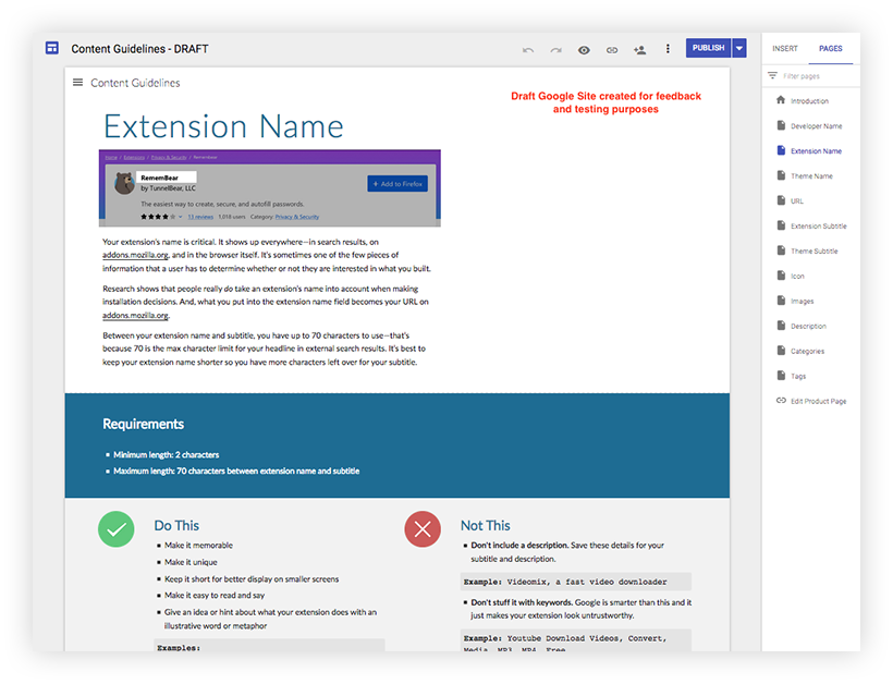 "Screenshot of a draft content guidelines page for creating a good extension name. Includes a description of why it's important to create a good extension name, the requirements, and a list of ""do's"" and ""don'ts."""