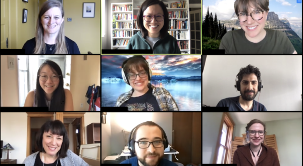 9 people in a grid on a video conference call