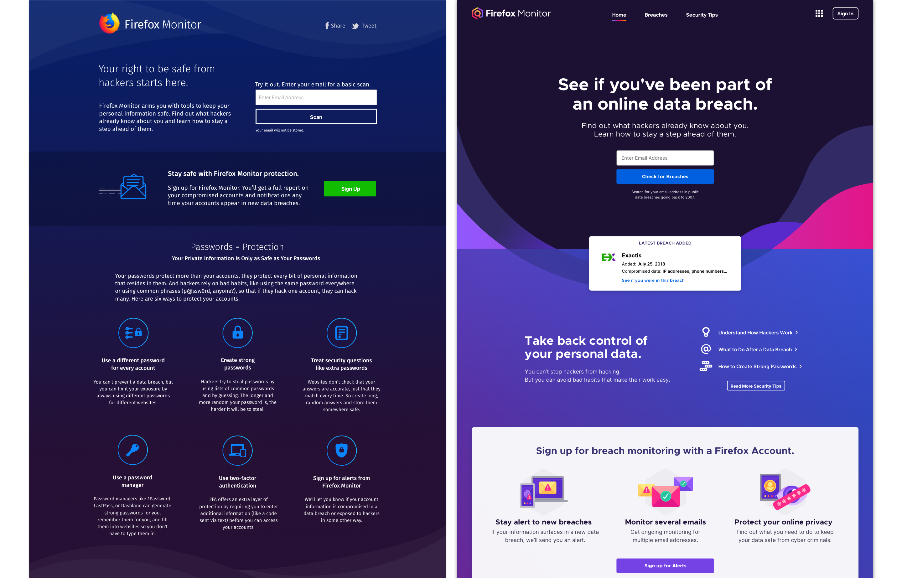 A side-by-side comparison of the Firefox Monitor homepage before and after the redesign.