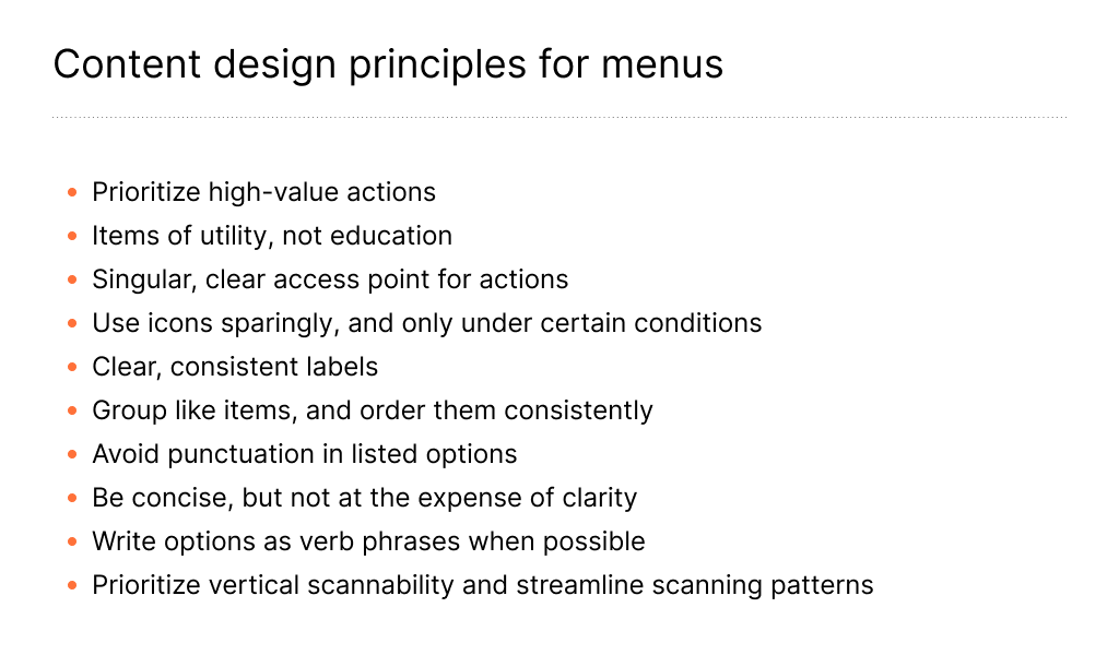 Image of content design principles for menus, such as 'Use icons sparingly' and 'Write options as verb phrases.'