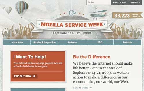 Screenshot of Mozilla Service Week