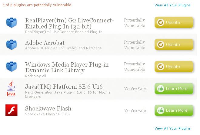 Screenshot of plugin detection