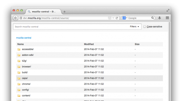 The front page of DXR, showing both the search pane and a top-level listing of the folders in mozilla-central