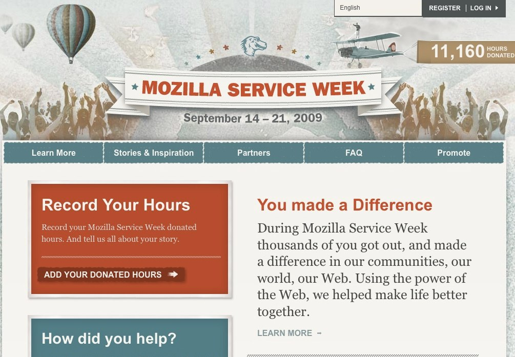 The Mozilla website Mozilla Service Week was retired in December 2010. It has been temporarily archived at http://website-archive.mozilla.org/mozillaservice.org for reference purposes. Mozilla Service Week took place from September 14 – […]